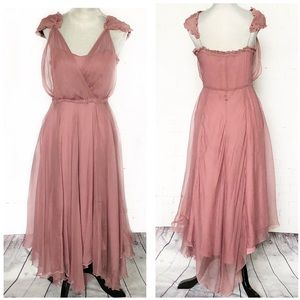 All Saints Mauve Pink Silk Asymmetrical Hem Dress